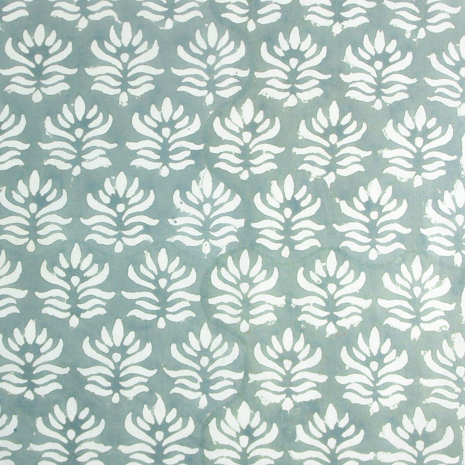 Hand Block Print Indian Fabric: Green, Orange, Gray, Blue Natural Dyes