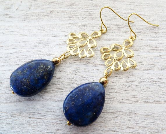 Lapis Earrings Dangle Blue Stone Golden Filigree Uk Drop Gemstone Jewelry Lazuli Jewellery