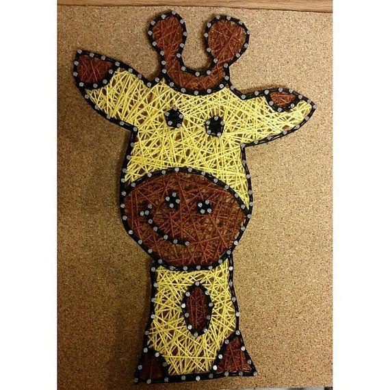 giraffe string art by carlysstringart on etsy string art pinterest tableau clou ficelle. Black Bedroom Furniture Sets. Home Design Ideas