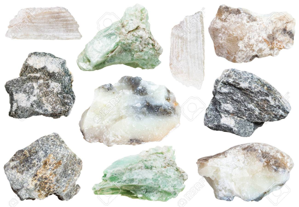 Collection From Specimens Of Talc And Soapstone Steatite Soaprock