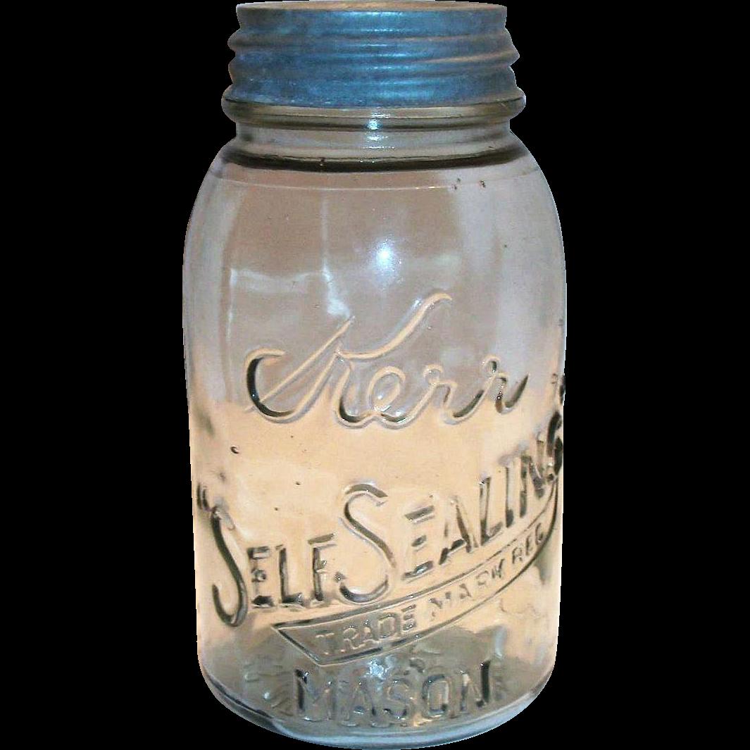 1915 Kerr Self Sealing 1 Qt Mason Jar | Mason jars, Jar, Mason