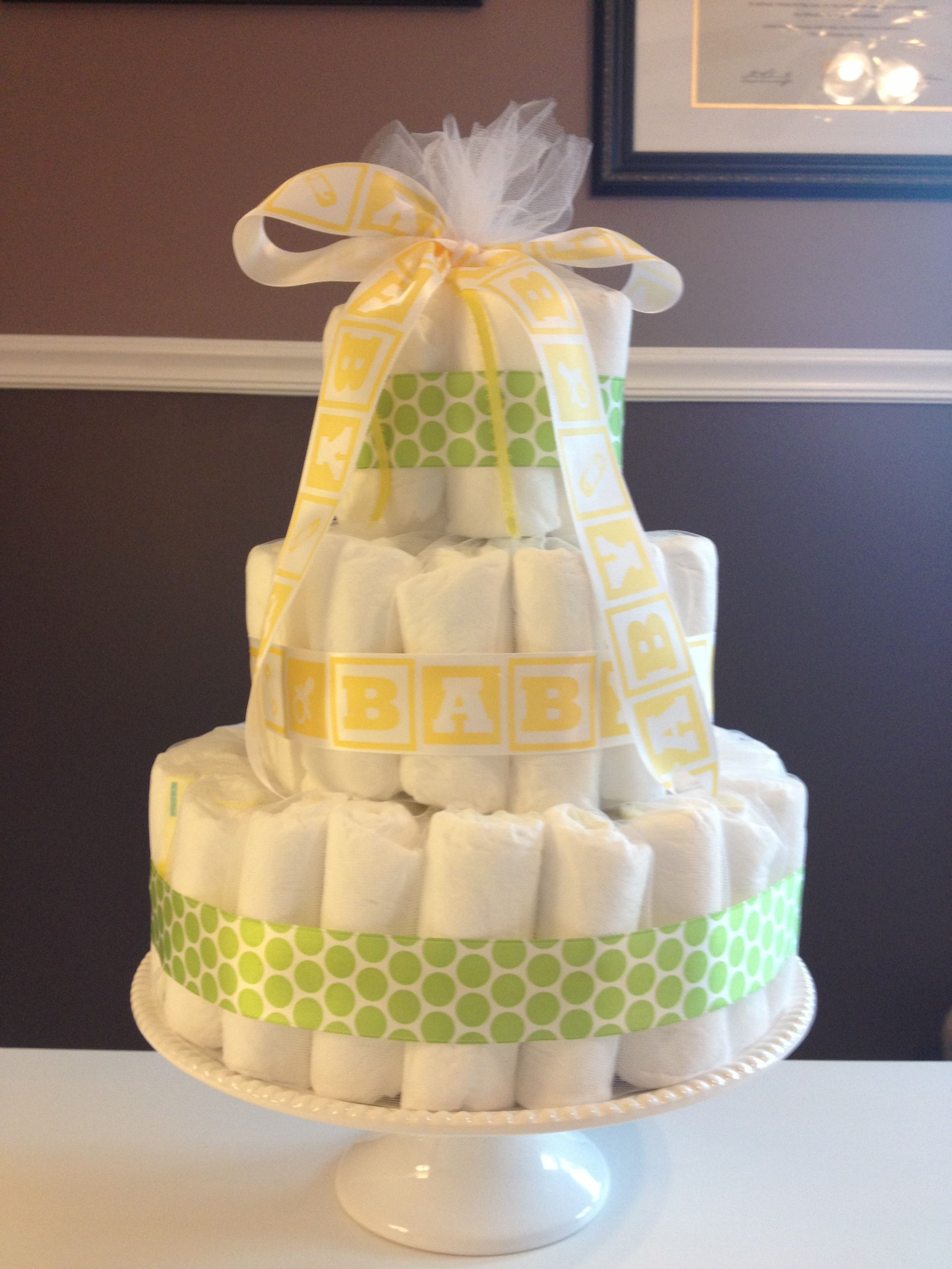 Gender Neutral Diaper Cake With Images Baby Shower Cakes For
