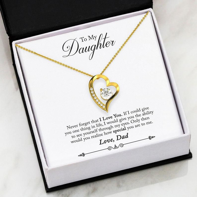 You are Cherished Wife Gift Forever Love Necklace-CZ Heart Pendant Stainless Steel or 18k Gold Wife Birthday Gift