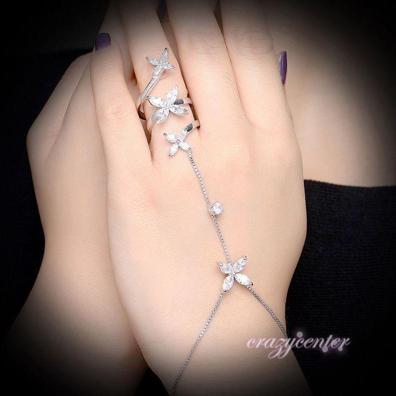 Bridal Gold Flower Crystal Bracelet Slave Chain Hand Harness Finger Ring
