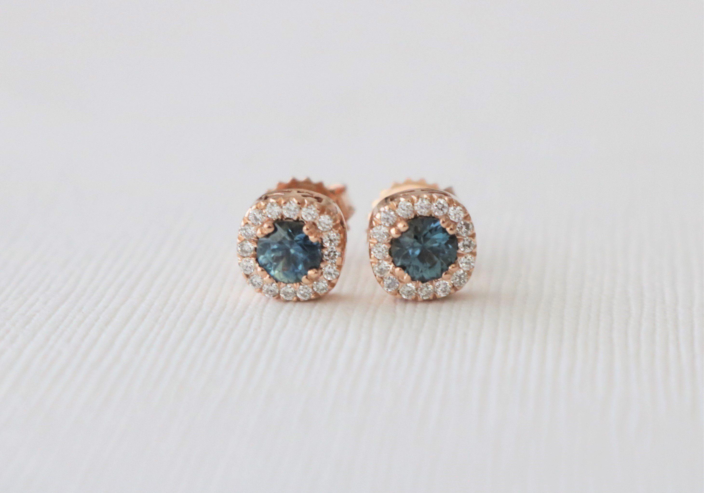 Etsy 0 25 Carat Diamond 14K Rose Gold Stud Earrings
