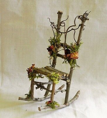 Miniature Dollhouse FAIRY GARDEN Furniture Rustic Iron Rocking Chair & Table Set