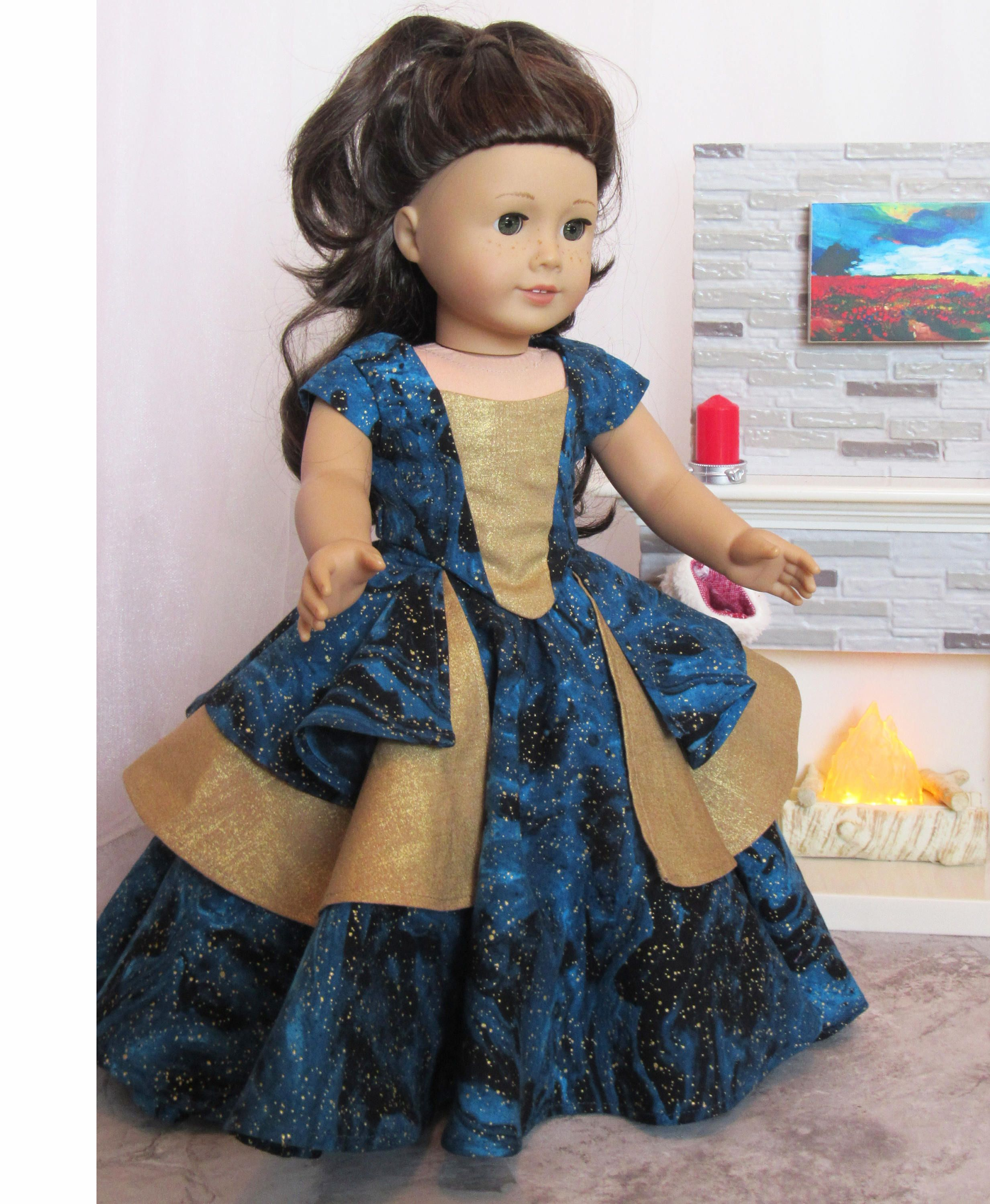 18 Doll Dress Blue and Gold Bella Rose Ball Gown #historicaldollclothes