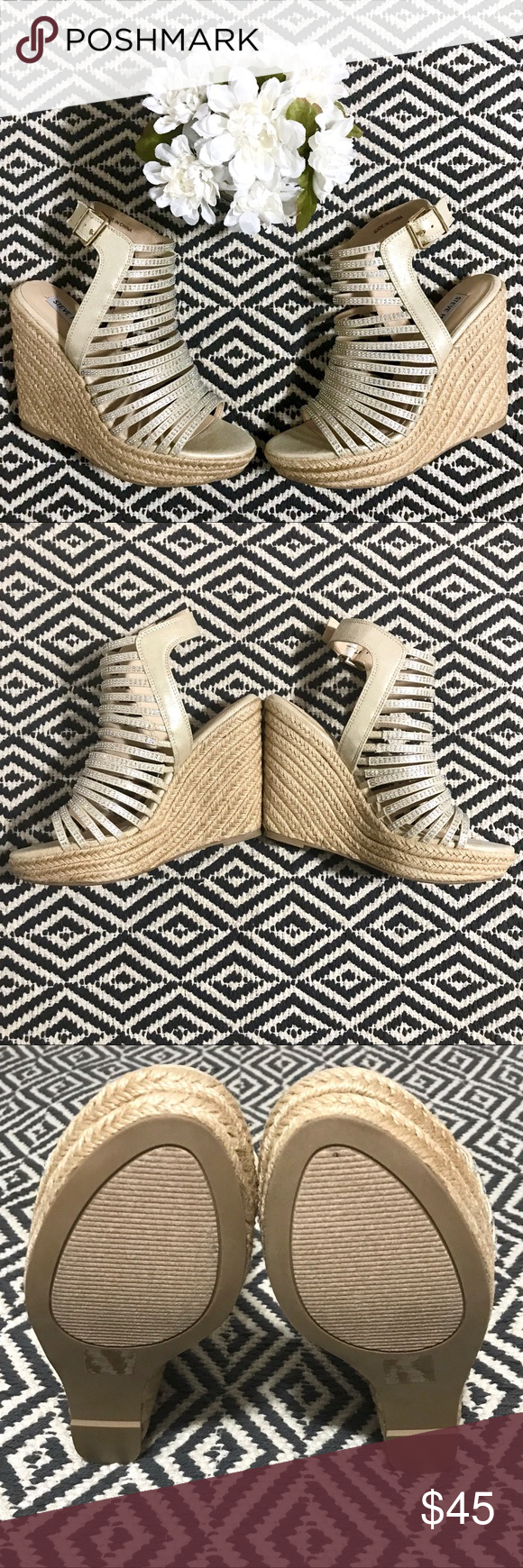Steve Madden wedges. These beautiful and glamorous Steve Madden wedges are a must have for the summer! These espadrille wedges have straps with crystals that shine in the light and will definitely turn heads