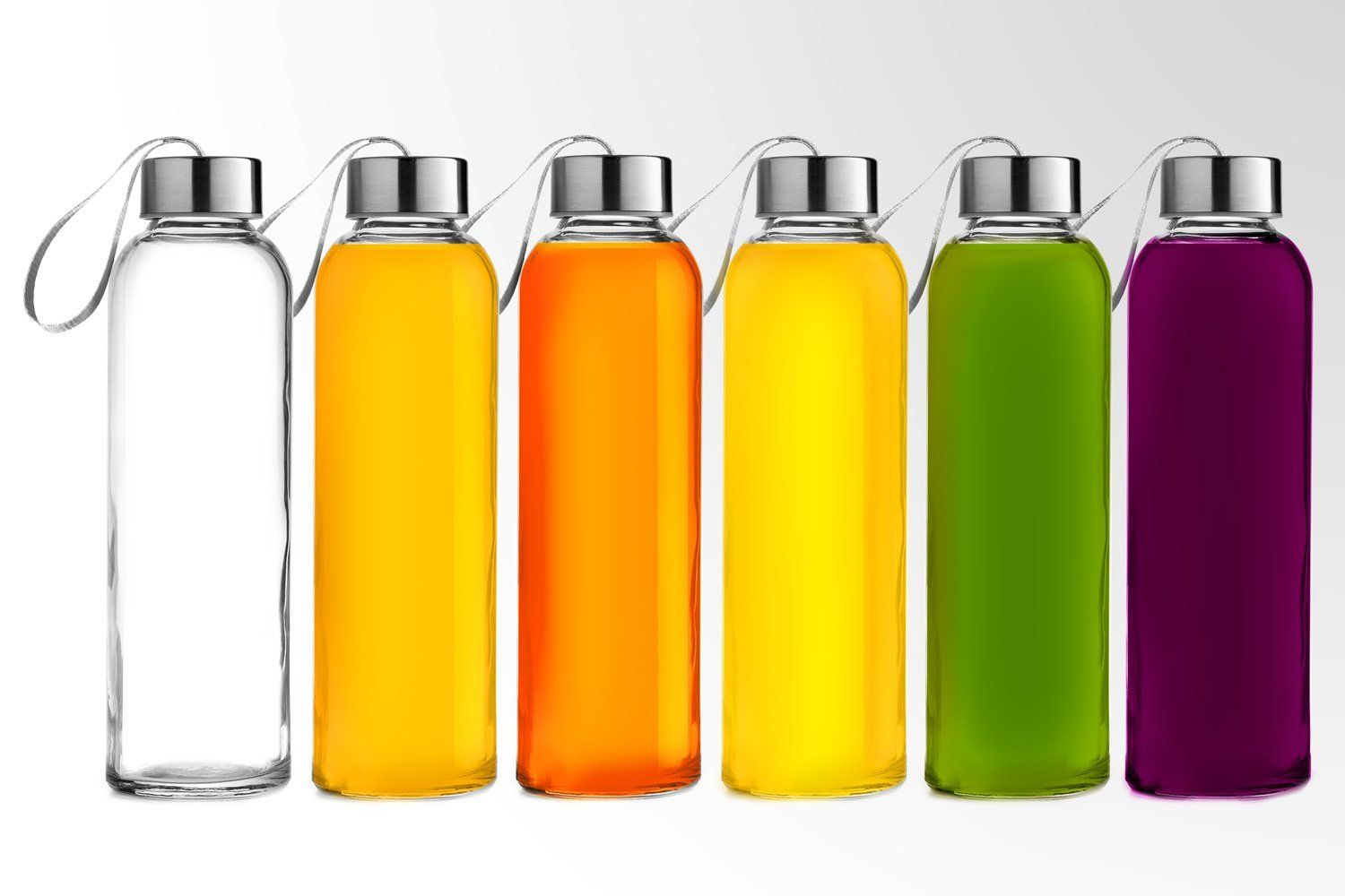 Chef's Star Glass water Bottle 6 Pack 18oz