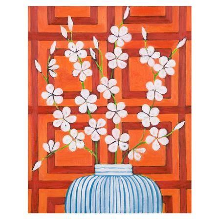 Lámina Graphic Blossom in Orange de Mariska Meijers, 36x43cm