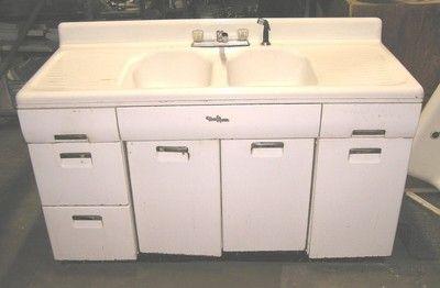 Retro 1950 S Beauty Queen Farmhouse Farm Cast Iron Double Bowl Kitchen Sink Set Metal Kitchen Metal Kitchen Cabinets Metal Sink