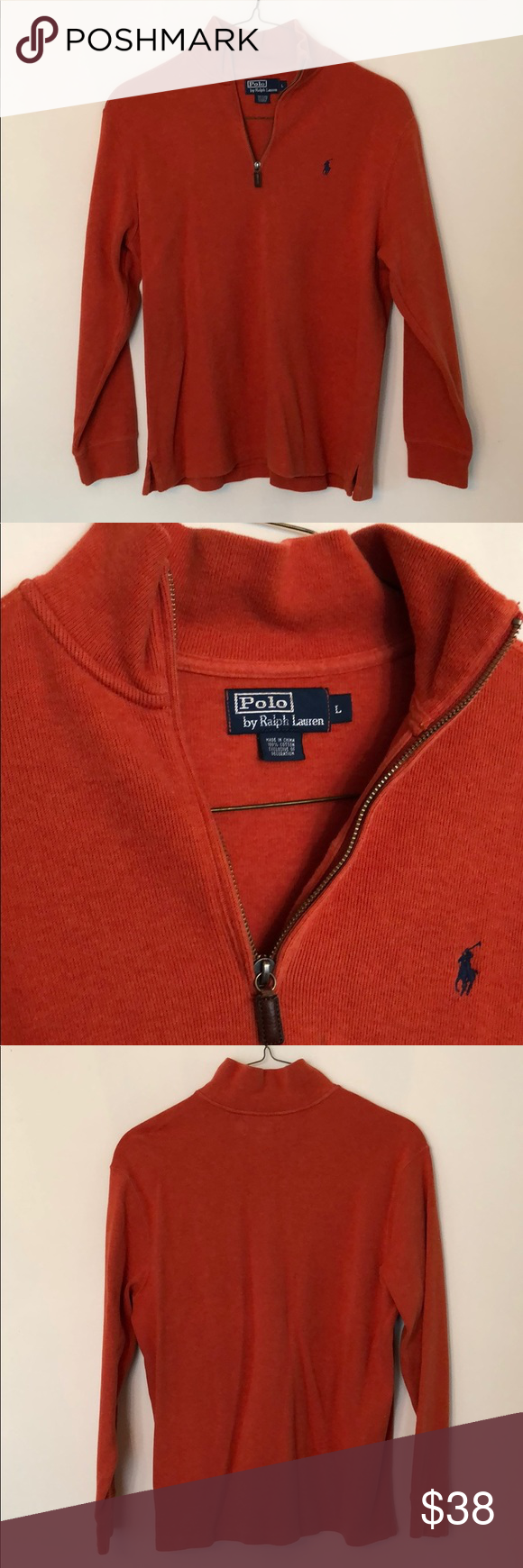 Mens Large Polo By Ralph Lauren Pullover 1 4 Zip A Burnt Orange Colored Polo By Ralph Lauren Pullover Sweatshi Ralph Lauren Pullover Polo Ralph Lauren Pullover [ 1740 x 580 Pixel ]