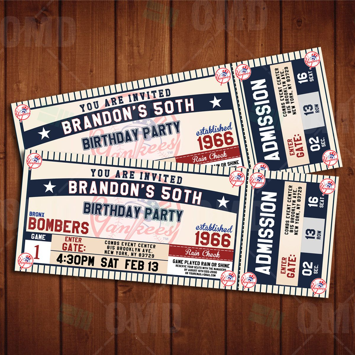 New York Yankees Classic Ticket Sports Party Invitations