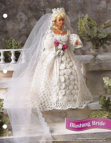 free barbie crochet gowns   Annies Attic 5 Crochet Patterns Book ...