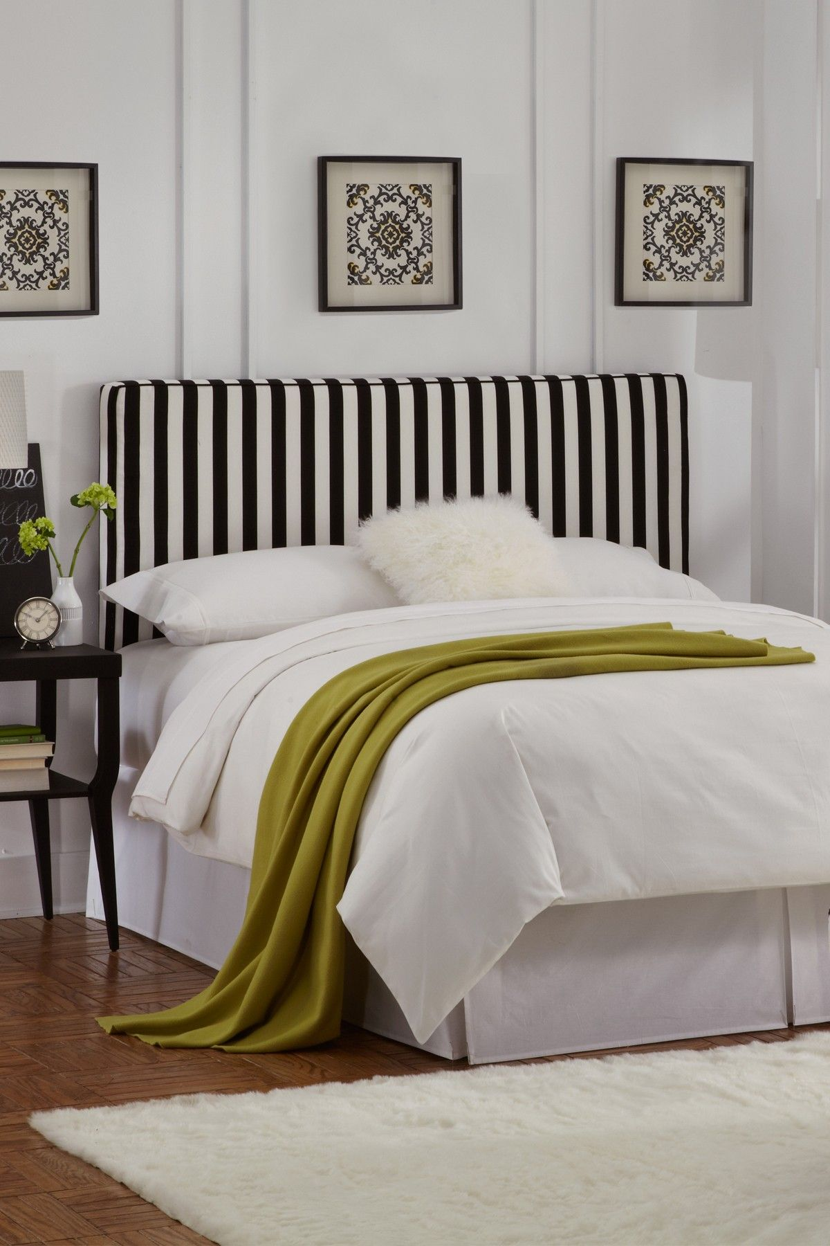 Canopy Stripe Upholstered Headboard Black White