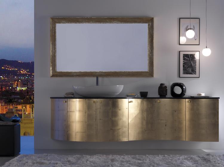 mobile da bagno in foglia oro