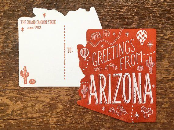Arizona postcard greetings from arizona die cut letterpress state arizona postcard greetings from arizona by noteworthypaperpress m4hsunfo