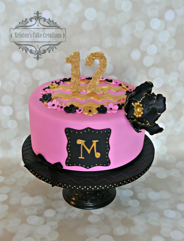 Pink Black And Gold 12th Birthday Cake Black Flower Chevron
