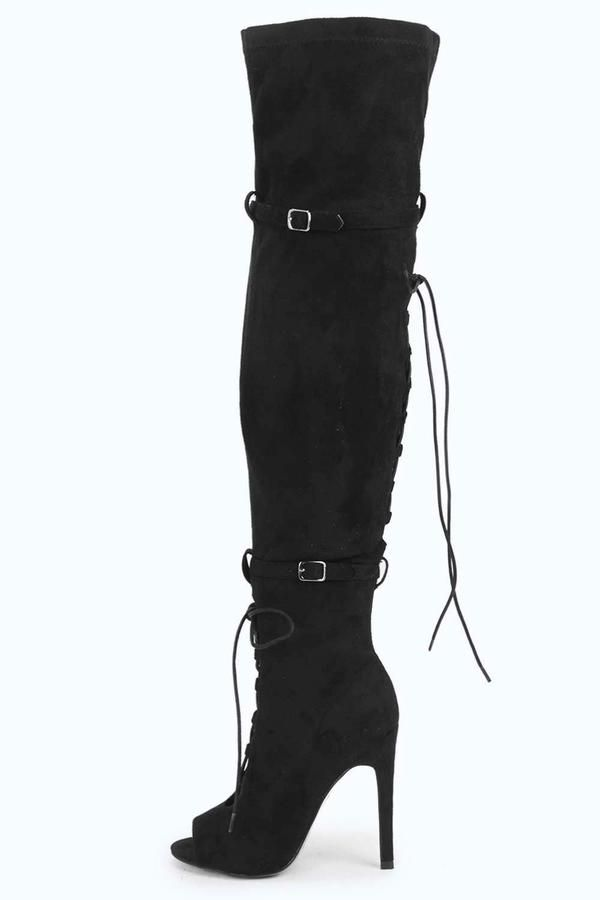 10/6/2016 Amy Lace Up Buckle Trim Thigh High Boot $104 down to  $44