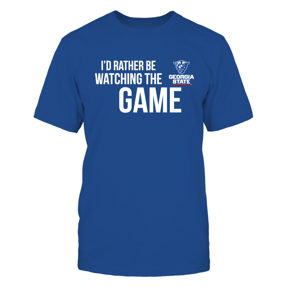 I'd Rather Be Watching The Game Georgia State T-Shirt, Georgia State Panthers Official Apparel - Wear Your Pride!  The Georgia State Panthers Collection, OFFICIAL MERCHANDISE  Available Products:          Gildan Unisex T-Shirt - $25.95 District Men's Premium T-Shirt - $27.95 Gildan Women's T-Shirt - $27.95 District Women's Premium T-Shirt - $29.95 Next Level Women's Premium Racerback Tank - $29.95 Gildan Long-Sleeve T-Shirt - $33.95 Gildan Fleece Crew - $39.95 Gildan Unisex Pullover Hoodie…