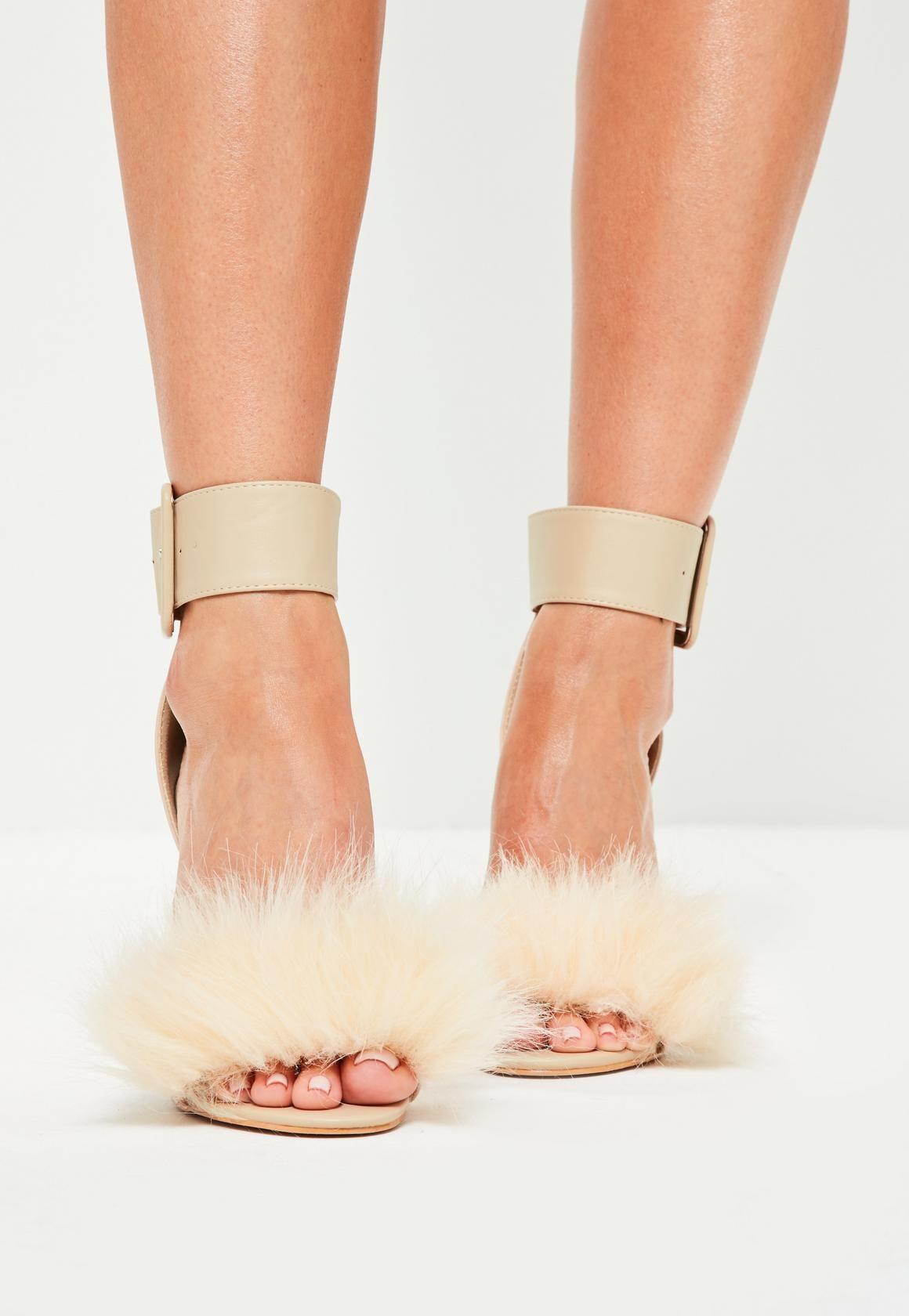666b763aa Nude Faux Fur Vamp Block Heel Sandals - Missguided | BUY | Shoes ...