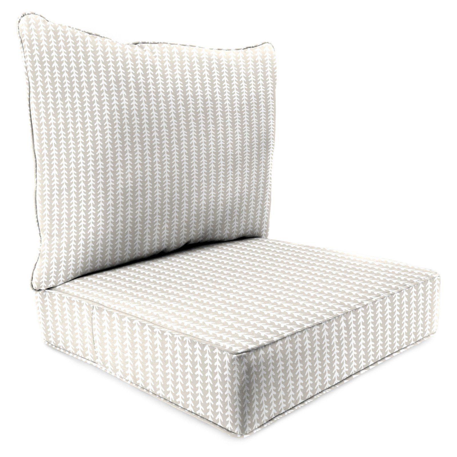 Jordan Manufacturing 2 Piece Deep Seat Chair Cushion Vine Oyster