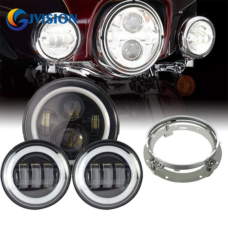 "Motorcycle Black 7/"" LED Projector Headlight 4.5/"" Passing Fog Lights Mount Ring"