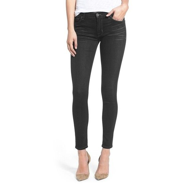 Hudson Jeans Coated Super Skinny Jeans ($198) ❤ liked on Polyvore featuring jeans and black