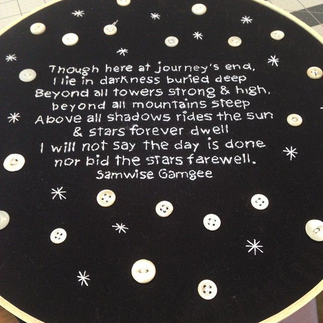 Not quite finished - but almost. Finally a new star themed embroidery to add to my repertoire. A little lord of the rings love with this one. Coming soon. #daisyeyeshandmade #buttons #stars #sneakpeek #wip #embroidery #handembroidery #etsy #comingsoon #lotr #samwisegamgee #quotes