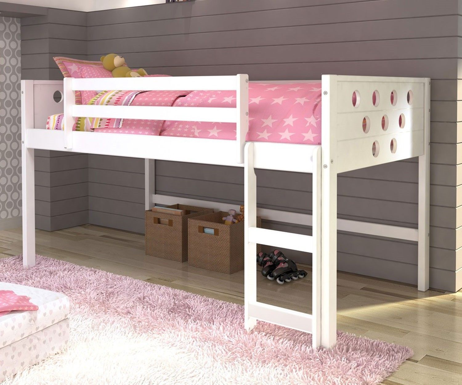 Loft bed with desk underneath  White Twin Circles Low Loft Bed  Loft beds Circles and Stairs