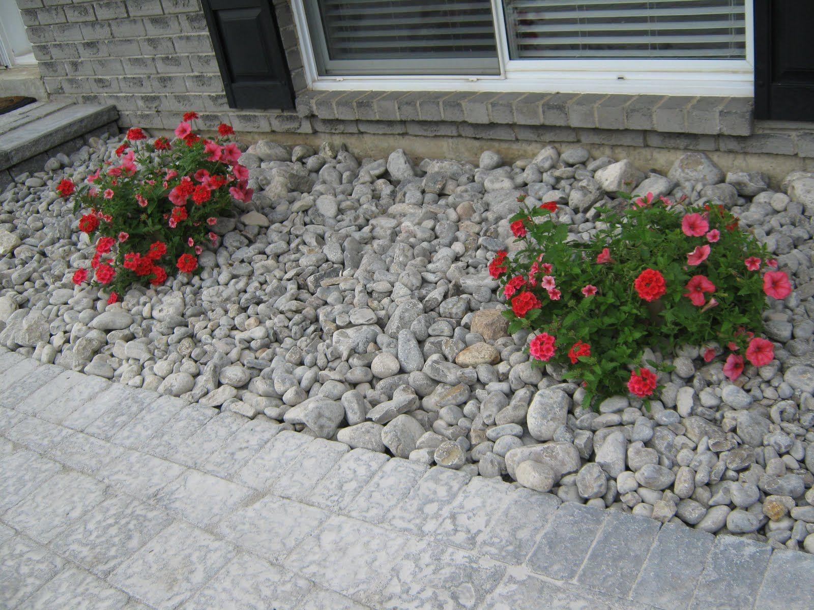 River rock flower bed Stone flower beds, Rock flower beds