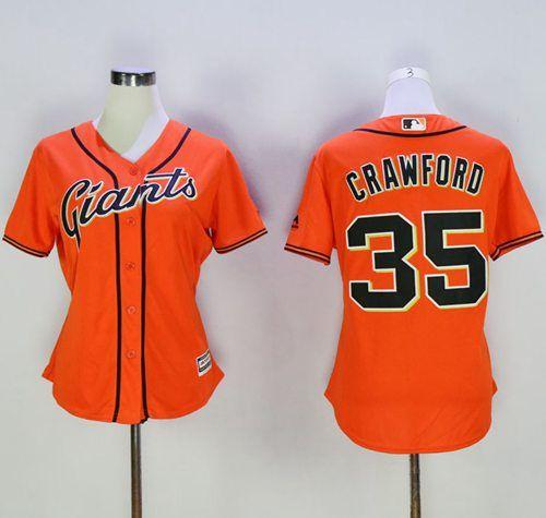 womens giants 35 brandon crawford orange alternate stitched mlb jersey