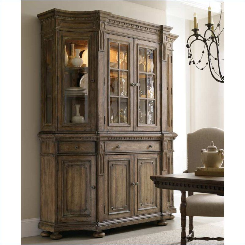 Lowest Price Online On All Hooker Furniture Sorella Shaped Credenza With Hutch In Warm Brown