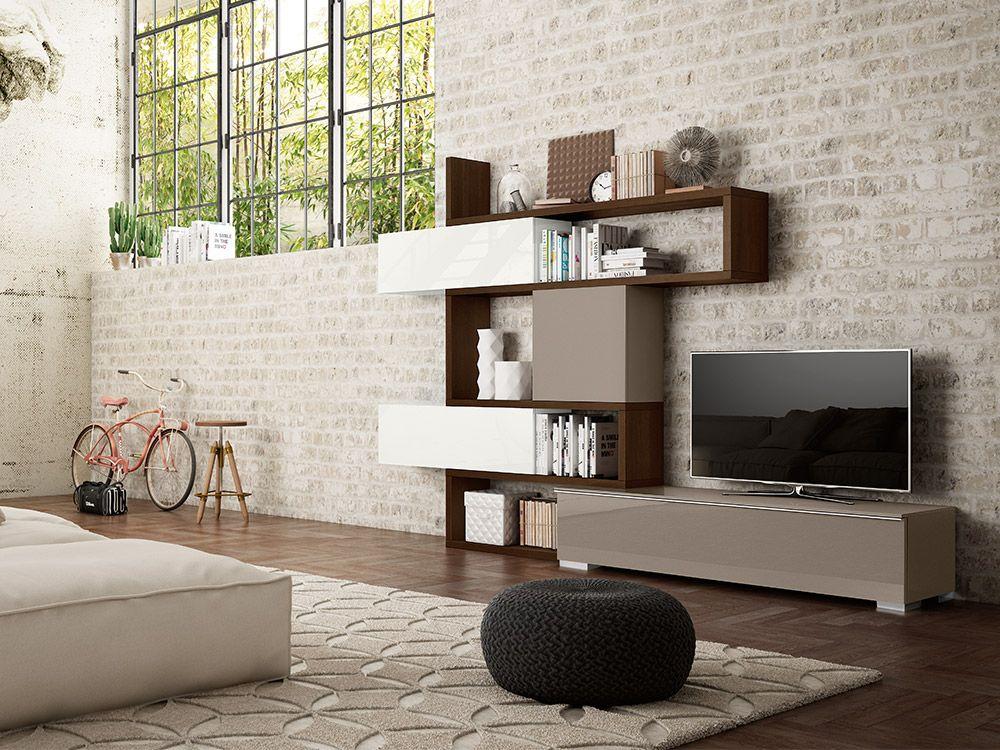 Soggiorno moderno con libreria completamente personalizzabile e componibile , qui proposto nella ...