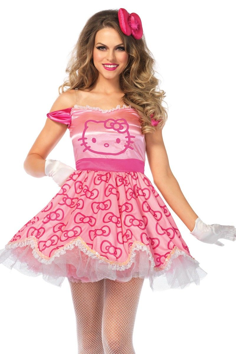 d9ba9945a Satin bow print dress with character face artwork and ruffled scalloped  hem, tie back satin bow, and matching plush hair piece.