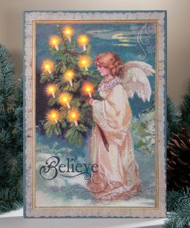 Timeless by Design \u0027Believe\u0027 Angel Lighted Canvas Angel, Canvases
