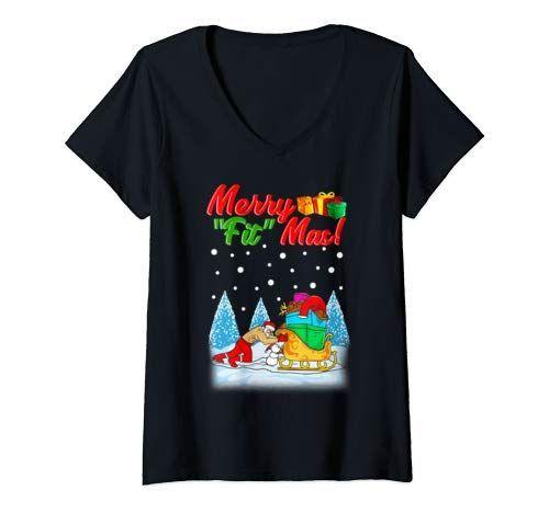 Womens Funny Christmas Fitness Santa Sport V Neck T Shirt Women Womens Funny Christmas Fitness Santa...