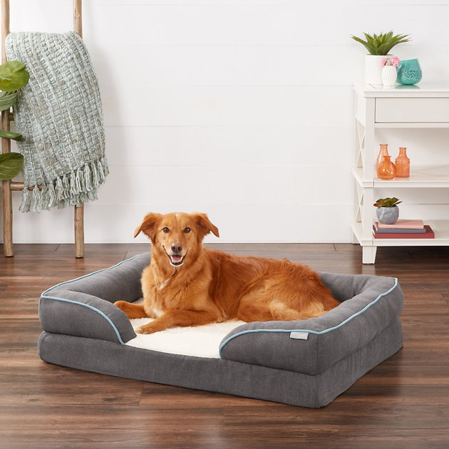 Frisco Plush Orthopedic Front Bolster Cat Dog Bed W Removable Cover Beige Large Chewy Com Dog Bed Cool Dog Beds Durable Dog Bed