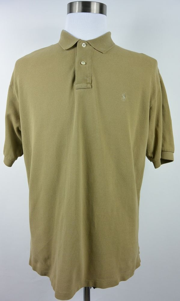 ff23524b4fce Polo Ralph Lauren L Large Beige Golf Cotton Polo Short Sleeve Mens Shirt   318  PoloRalphLauren  PoloRugby
