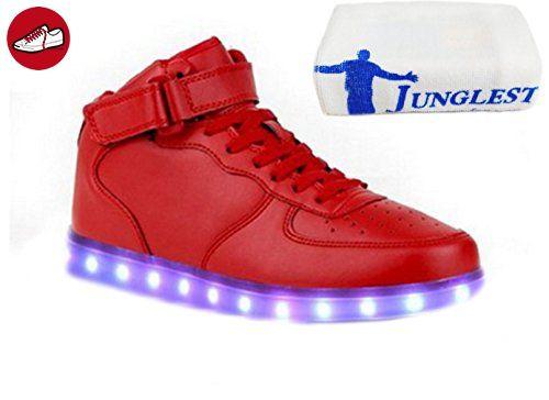 (Present:kleines Handtuch)Weiß EU 38, Kinder JUNGLEST® 7 High Sneaker mode Sportschuhe Damen LED Leuchtend Unisex-Erwachsene Turnschuhe Herren Auflade