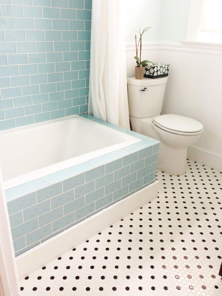 Large vapor glass subway tile bathtub surround Tile outlet. Color ...