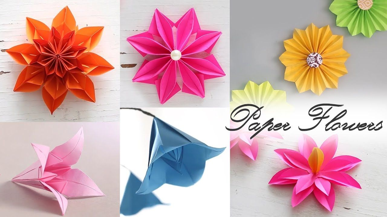 6 Easy Paper Flowers Paper Folding Diy Craft Como Hacer Flores
