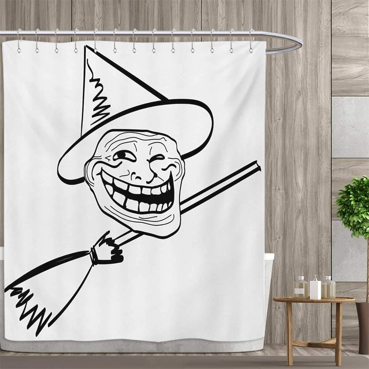 smallfly Humor Custom Made Shower Curtain Halloween Spirit