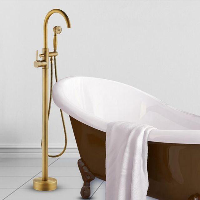 Antique Brass Bathroom Tub Faucet Floor Mounted Tub Filler Mixer Tap Hand Shower