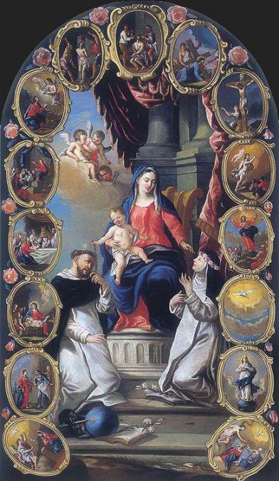Janez Mihael Lichtenreit: Virgen del Rosario, santo Domingo y santa Rosa de Lima, 1760.