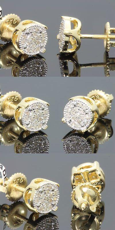 Earrings Studs 14085 15 Carat Yellow Gold Finish Mens Womens 6 Mm 100