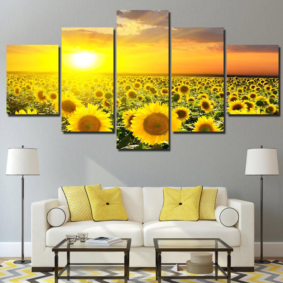 Sunshine Flower Painting On Canvas Prints - Enjoy Canvas #sunflowerbedroomideas