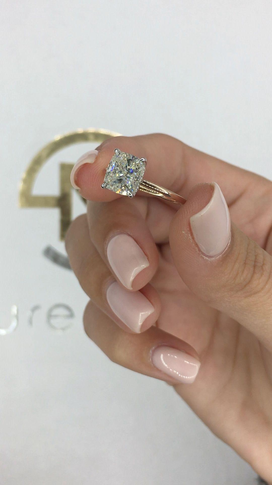 Diamond Engagement Ring 1.83 Carat Cushion Unique Diamond   Etsy