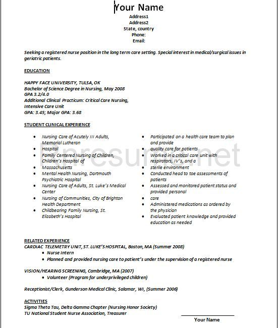 Rn New Grad Resume Gorgeous New Grad Resume Template New Grad Rn Resume Examples Nurse New Grad .