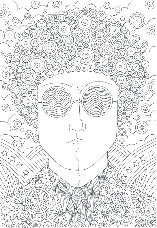 The coolest free coloring pages for adults Hippie guy Adult